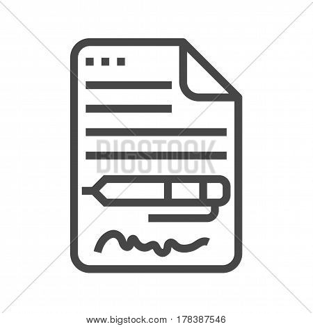 Contract Thin Line Vector Icon. Flat icon isolated on the white background. Editable EPS file. Vector illustration.