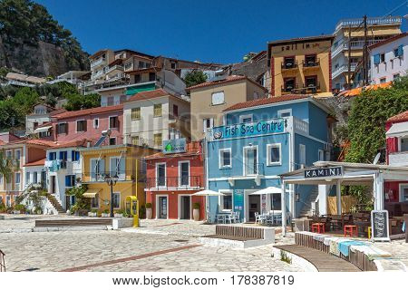 PARGA, GREECE JULY 17, 2014: Amazing Panoramic view of town of Parga, Epirus, Greece