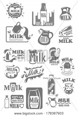 Milk icons for dairy products packaging labels. Vector icons of milk splash, bottle, jug or pitcher and box package. Cow and farm fresh natural badges for shop or market templates