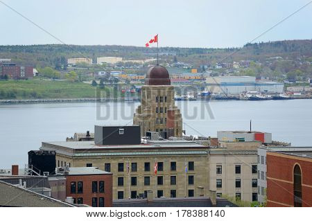 Tower of Dominion Public Building and Halifax Harbour from the top of Citadel Hill in downtown Halifax, Nova Scotia, Canada.
