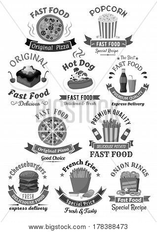 Fast food icons and badges for menu or restaurant signs. Vector set of burgers, hot dog sandwiches and pizza. Fastfood popcorn snacks, cheeseburger, french fries and cupcakes or muffin desserts
