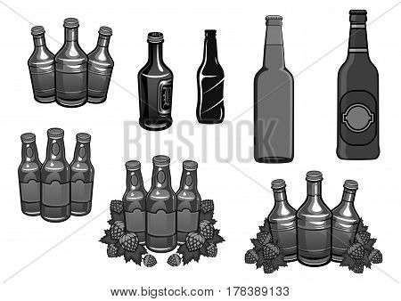 Beer and hops template icons. Vector set of beer bottles and hop plant cones or seeds. Symbols for craft brewing company or alcohol drink brewery bar or Oktoberfest pub sign