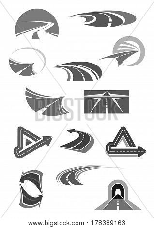 Road and highways with tunnels and directions icons for travel company, construction service or tourist agency. Vector template symbols set of path and way for car or transport navigation