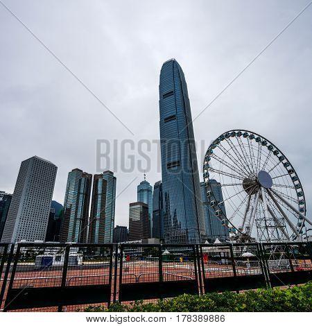 landmarks of Hong Kong financial district in China.