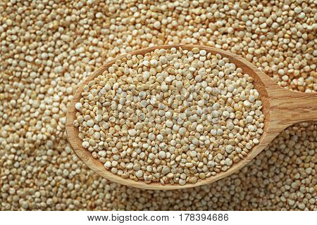 Organic quinoa seeds with spoon, closeup