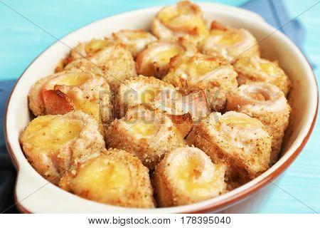 Crockpot with delicious chicken cordon bleu