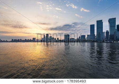 landmarks of Shanghai along Huangpu river in China.