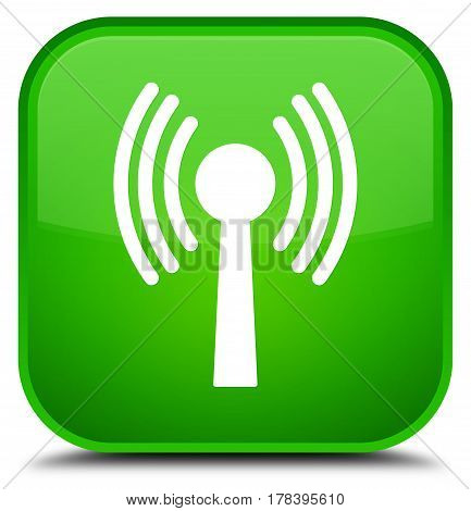 Wlan Network Icon Special Green Square Button