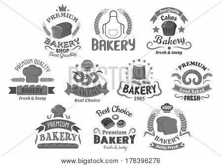 Bakery shop and pastry icons. Wheat and rye bread bagels and loafs, cake or cupcakes desserts. Vector isolated templates set of buns and pretzel, muffin or croissant and chef toque apron