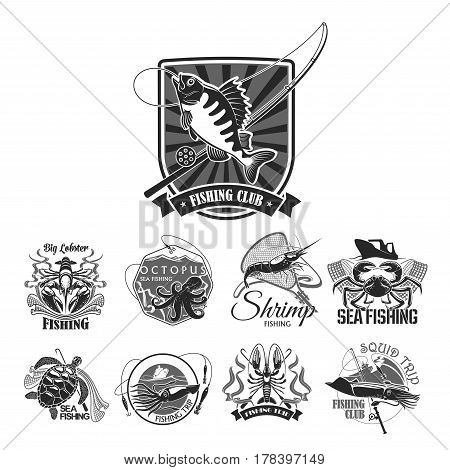 Fishing club icons of fisher badges for seafood or fish catch of perch, crab, squid or shrimp and octopus. Vector symbols of fisherman rods and net, bait lures and hooks for fishery sport trip