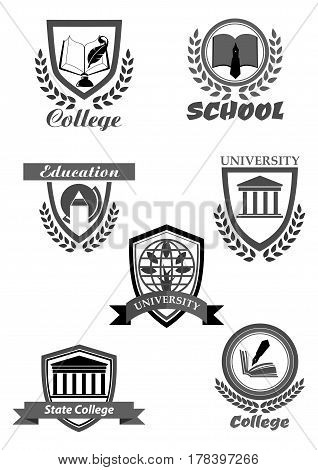 University, high school and college academy template icons. Symbols of education and knowledge book and ink pen, world globe and tree. Vector isolated set of shield ribbons and laurel