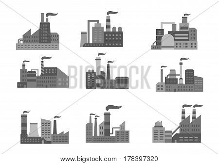 Factory or industrial plant icons of oil and mining or nuclear and machinery metallurgical heavy industry. Vector symbols set of or energy power plants or manufacturing stations with chimney smoke
