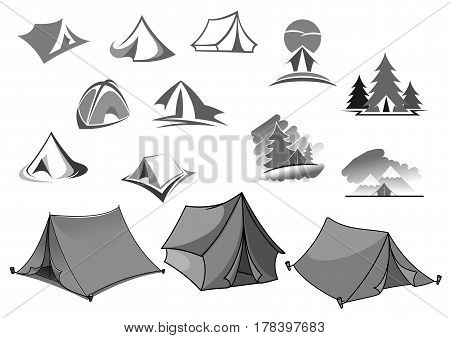 Camp tent icons for camping adventure or forest backpacking or outdoor hiking tourism or travel agency and company. Holiday scout camping place or picnic campsite isolated vector symbols