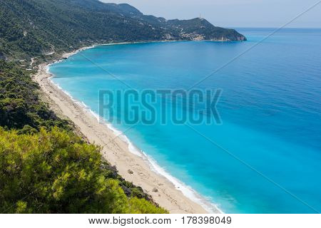 Panoramic view of Kokkinos Vrachos Beach with blue waters, Lefkada, Ionian Islands, Greece