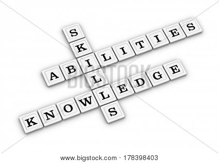 Skills, Knowledge and Abilities Crossword Puzzle. Qualities for Job Candidates. 3D illustration on white background.