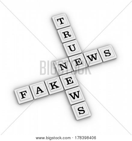 True and Fake News Crossword Puzzle. 3D illustration on white background.