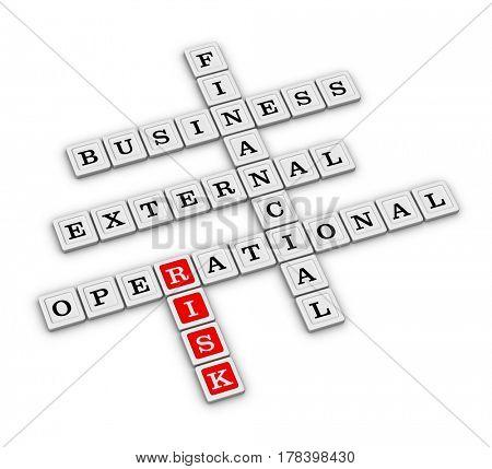 Type of Risk crossword. Risk management concept. 3D illustration on white background.