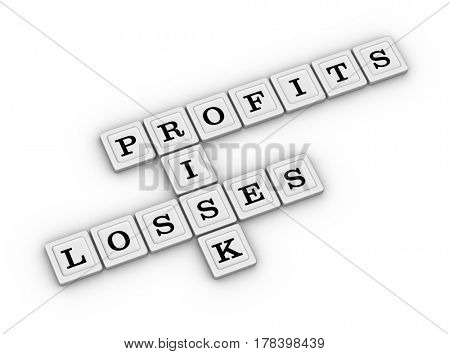 Business Risk, Profits and Losses Crossword Puzzle. Risk Management concept. 3D illustration on white background.