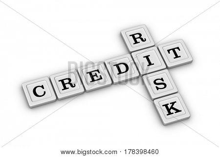 Credit Risk Crossword Puzzle. Risk Management concept. 3D illustration on white background.