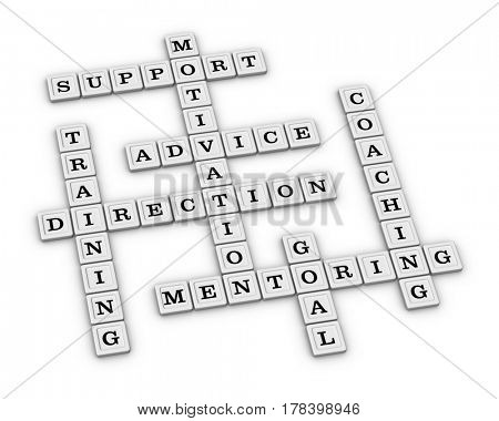 Mentoring Concept Crossword Puzzle. 3D illustration on white background.
