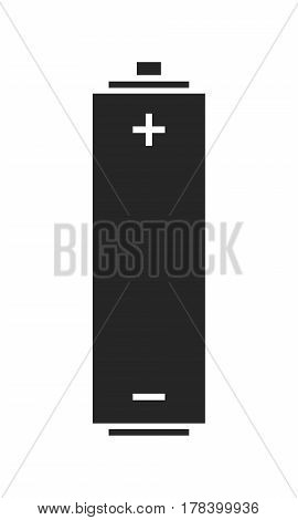 Battery. Source of energy. Flat icon, silhouette isolated on white background. Vector illustration