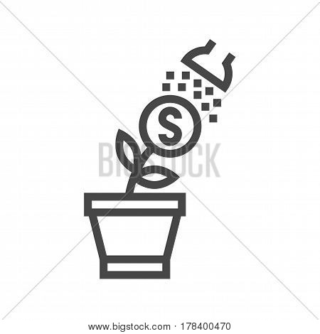 Growth Income Thin Line Vector Icon. Flat icon isolated on the white background. Editable EPS file. Vector illustration.