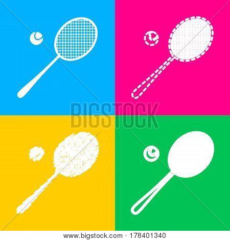 Tennis racquet sign. Flat style black icon on white.