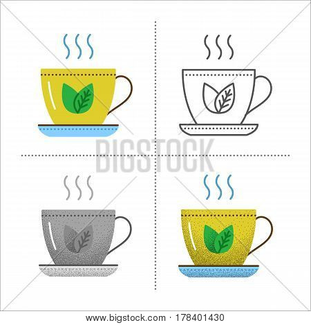 Set of cup icons in different styles: retro, flat, thin line, black and white with vintage texture. Kitchen utensil - mug with tea leaf. Vector illustration isolated on white background.
