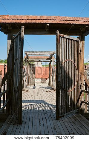 Ancient wooden gates of the old building of Dubno fortress