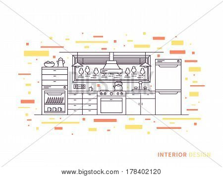 Linear flat interior design illustration of modern designer kitchen interior space with cupboard shelves stove lamps fridge. Outline vector graphic concept of kitchen interior design