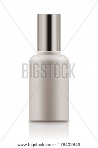 Empty and clean white bottle with cap for body lotion. Realistic 3d blank template plastic container for cream. Mock-up of package for cosmetic product. Vector illustration.