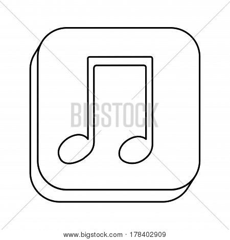 square silhouette button with contour musical note vector illustration