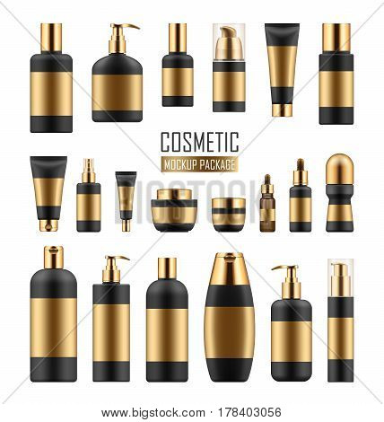 Mock up of black and gold packages for cosmetic prodact. Set of vector realistic blank templates of plastic containers: bottles with spray, pump dispenser and dropper, tubes and jars