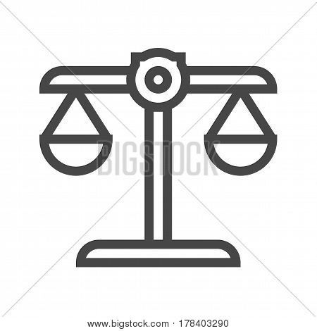 Libra Thin Line Vector Icon. Flat icon isolated on the white background. Editable EPS file. Vector illustration.