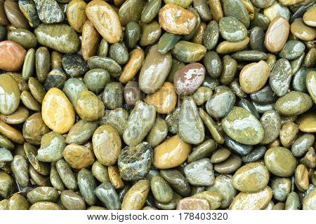The wet round stone background texture on the beach