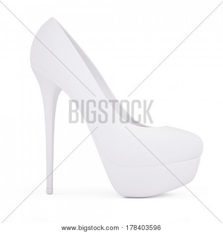 Matte white high heel shoes isolated on white. 3d render