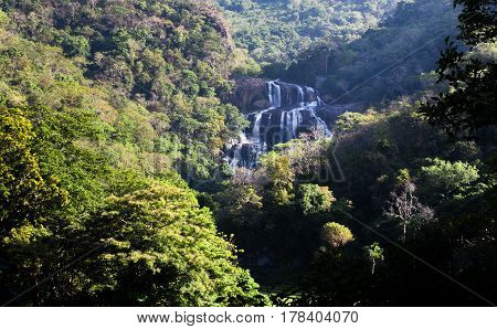 Rathna Ella, at 111 feet, is the 10th highest waterfall in Sri Lanka, situated in Kandy District