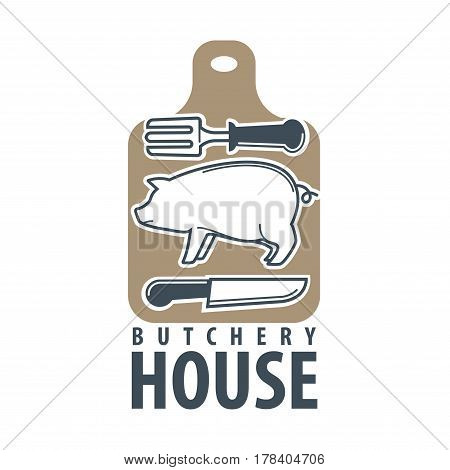 Butchery house logo flat vector label isolated on white. Sign of wooden cutting board with silhouettes of fat pig, sharp knife and meat fork and inscriptions under. Animal products template icon.