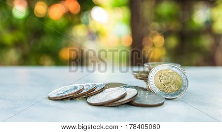 Money concept. Group of Thai bath coin stack growing