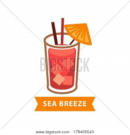 Popular cocktail Sea Breeze with ice cubes and drinking straws isolated on white. Modern beverage prepared from classic vodka, cranberry and grapefruit juice vector illustration in flat design