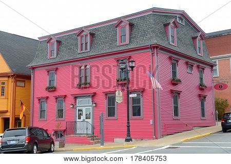 LUNENBURG, NS, CANADA - MAY 22, 2016: Historic Building on 11 King Street in town center of Lunenburg, Nova Scotia, Canada. The historic town was designated a UNESCO World Heritage Site since 1995.