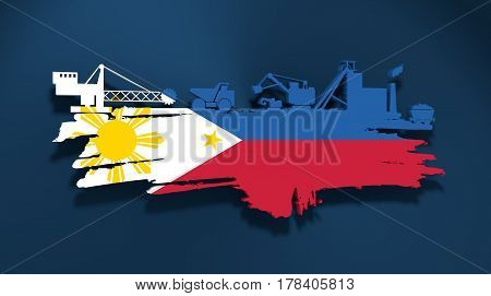 Energy and Power icons set and grunge brush stroke. Coal mining relative image. 3D rendering. Flag of the Philippines