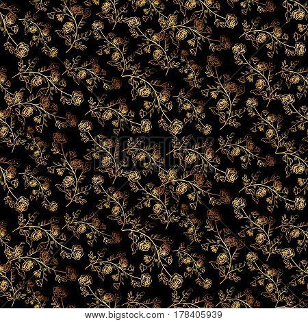 Seamless Floral Pattern On Black