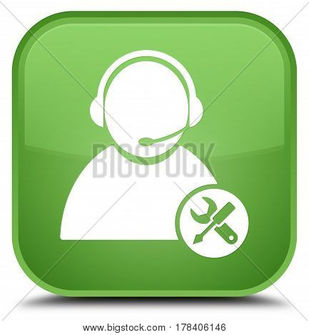 Tech Support Icon Special Soft Green Square Button