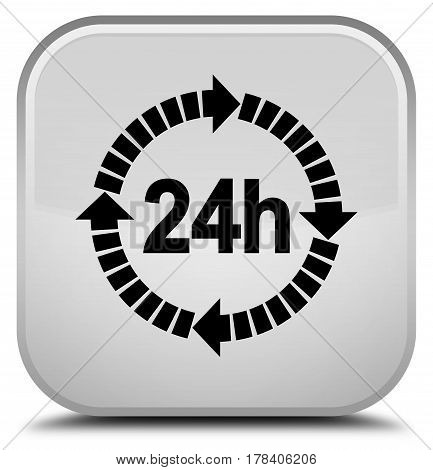 24 Hours Delivery Icon Special White Square Button
