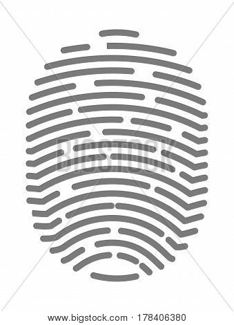 Fingerprint of twisted lines sign isolated on white vector illustration in flat design. Black dactylogram personal identity code. Person identification mark for document, control by thumbprint