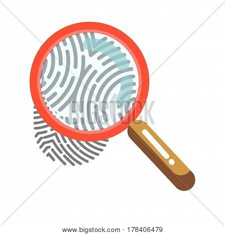 Fingerprint with magnifying glass isolated on white. Human print identity sign closeup, individual data mark. Vector illustration of biometric authorization in flat design, security control symbol
