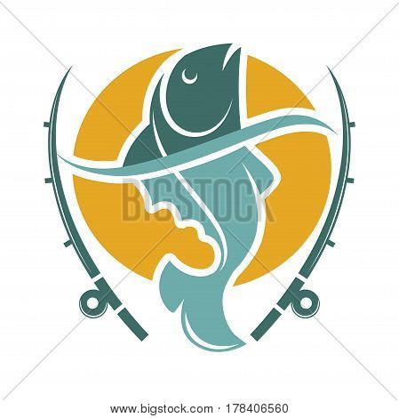 Fishing time logo template with fish and hooks isolated on white. Vector illustration of swimming animal in water on round yellow circle and two long tackles. River creature logotype template