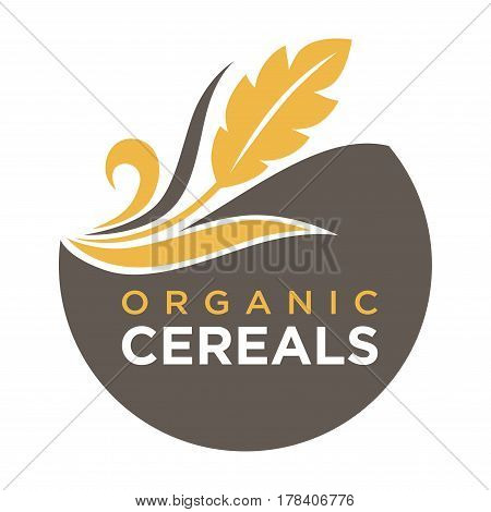 Organic cereals emblem ear of wheat ecology symbol isolated on white background. Vector illustration of bio natural insignia, agriculture concept creative template logotype in flat design, bread label