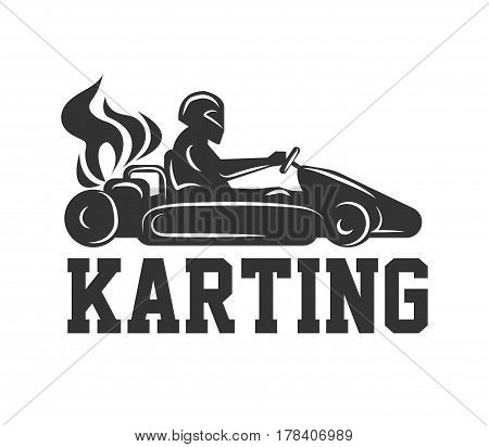 Karting logo racing sport car with driver in helmet isolated on white. Machine silhouette with fiery flame from rear wheels. Vector illustration of race on cards emblem label in flat design